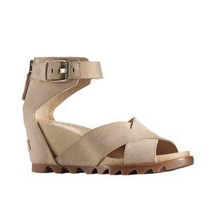 Sorel Joanie Wedge Sandal Tan Oatmeal